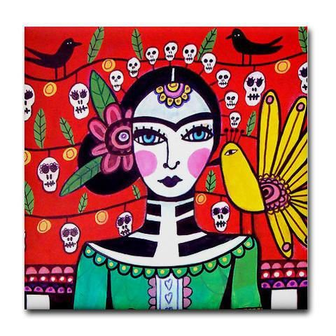 Day of the Dead Art Tile - Frida Kahlo Sugar Skulls - Mexican Folk Art Ceramic