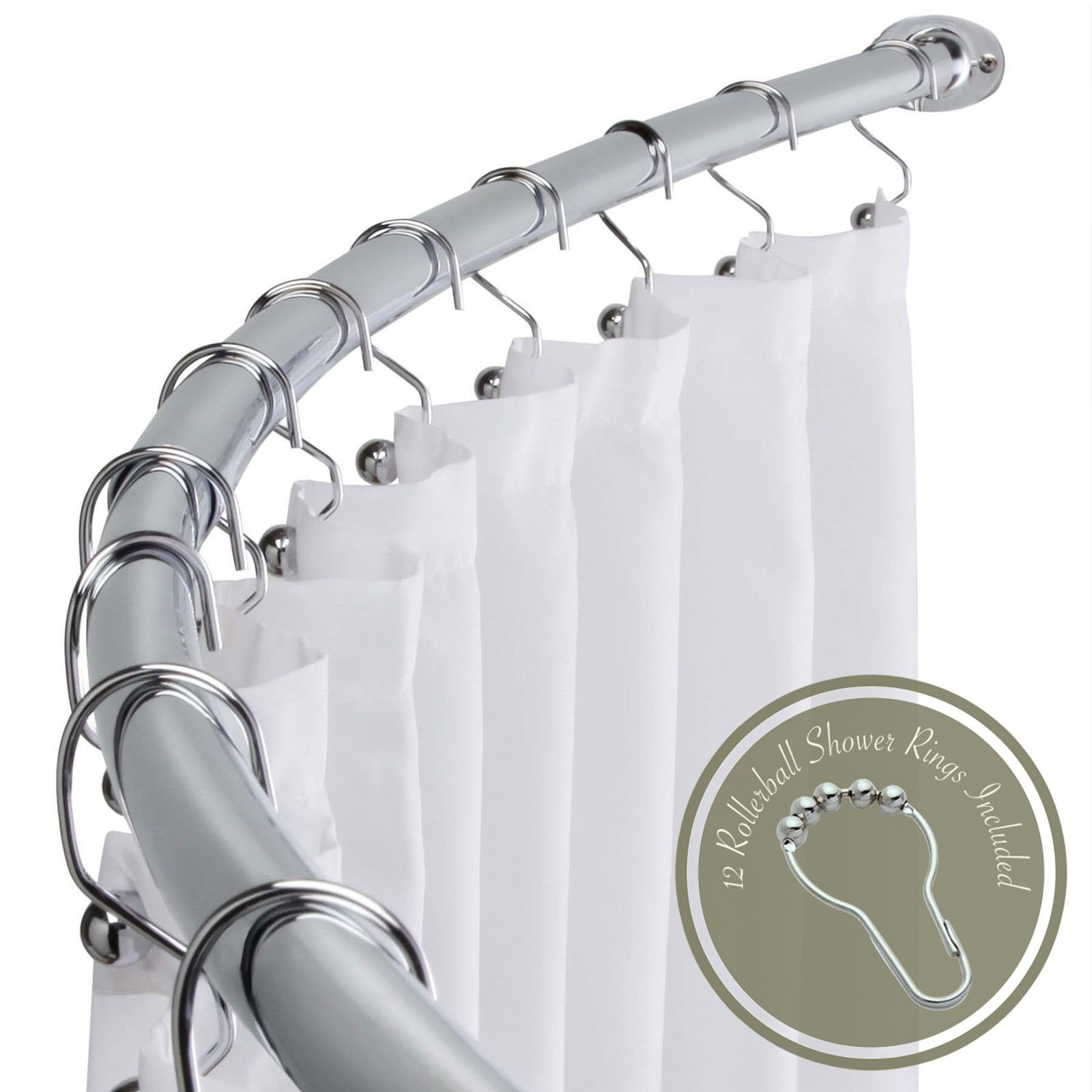 Arista Bath Adjustable 60 72 Opening Curved Shower Rod With Hooks Polished Chrome Shower Rod Polished Chrome Shower Curtain Rods