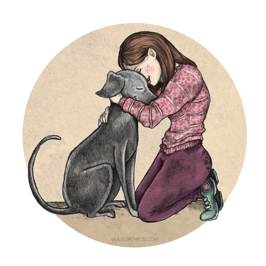 Rosy Hug By Elspethrose Com Greyhound Whippet Sighthound Iggy Girl And Dog Dog Illustration Dog Drawing