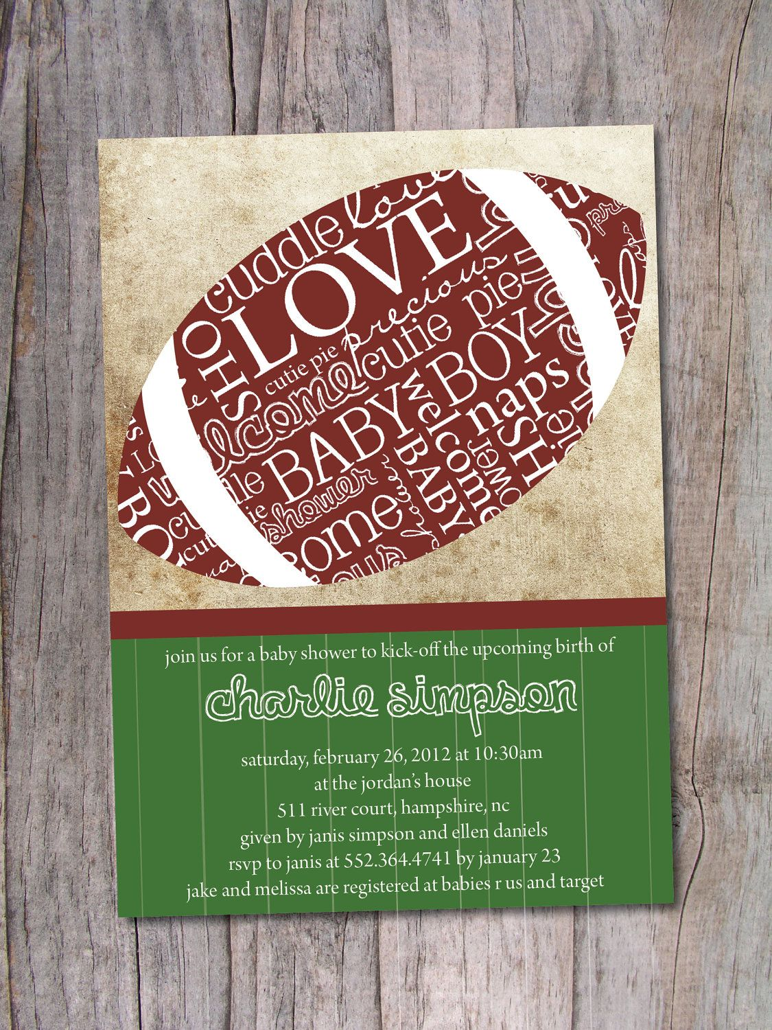 Football Baby Shower Invitation by PinchOfSpice on Etsy--except it ...