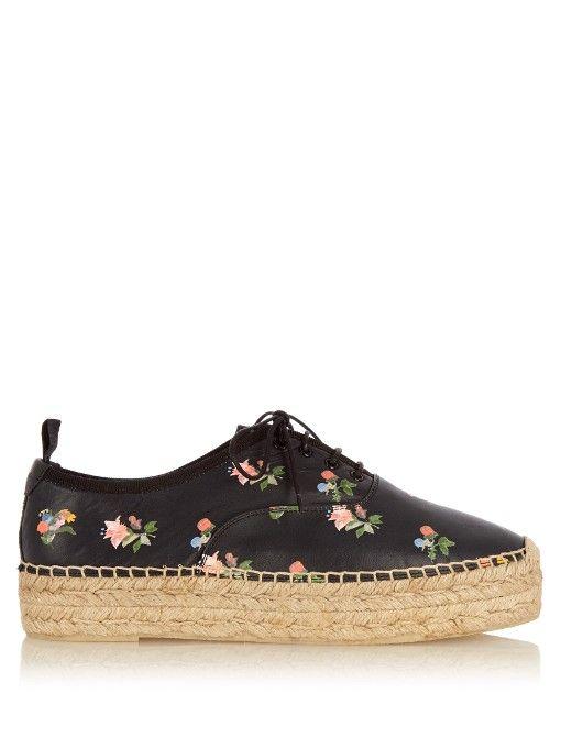 2fad9f78239 Saint Laurent Floral-print lace-up leather flatform espadrilles ...