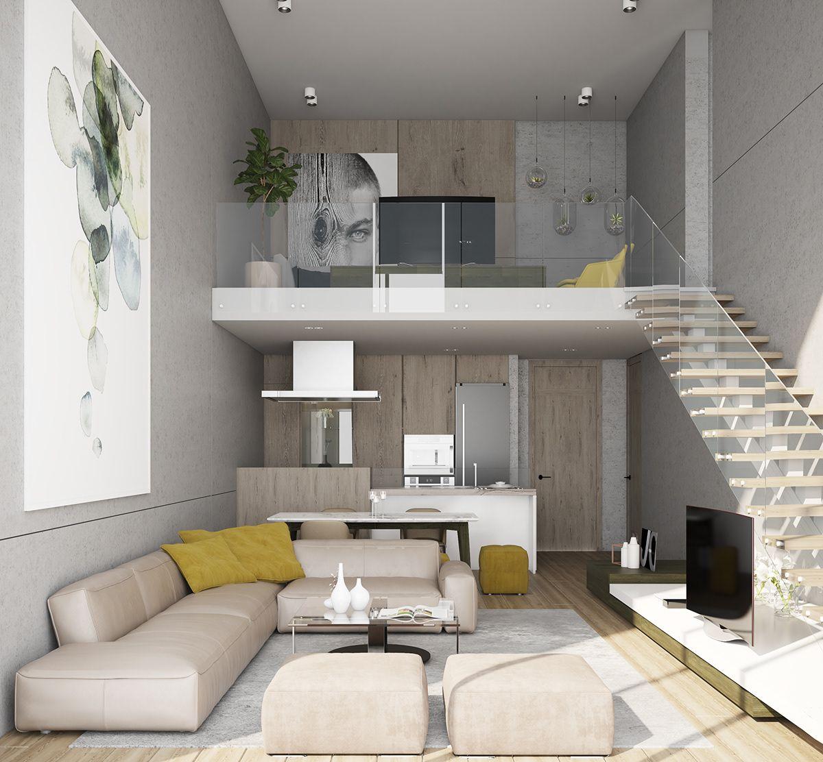 Loft Apartment Living Area On Behance Loft Interior Design Apartment Interior Small Loft Apartments
