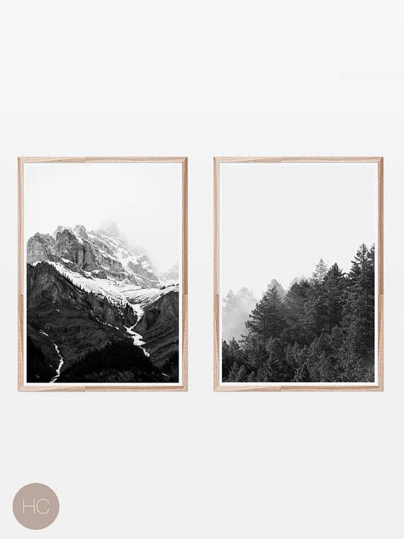 Black and white printsscandinavianmountain printnordic printsdorm decorwall artforest printnature printset of 2 printsset of prints we off