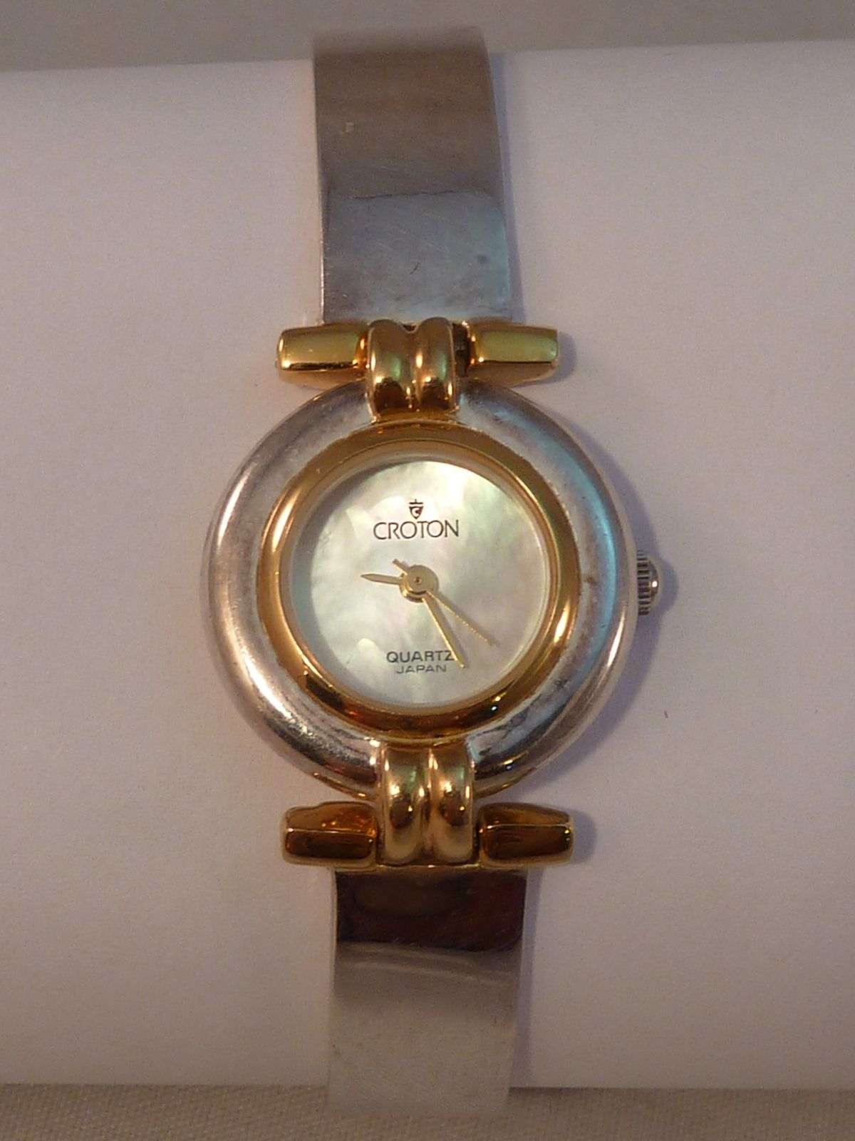 78fe966a60a Women s Croton Watch Sterling Silver Bracelet Band Mother of Pearl Face  Buckle