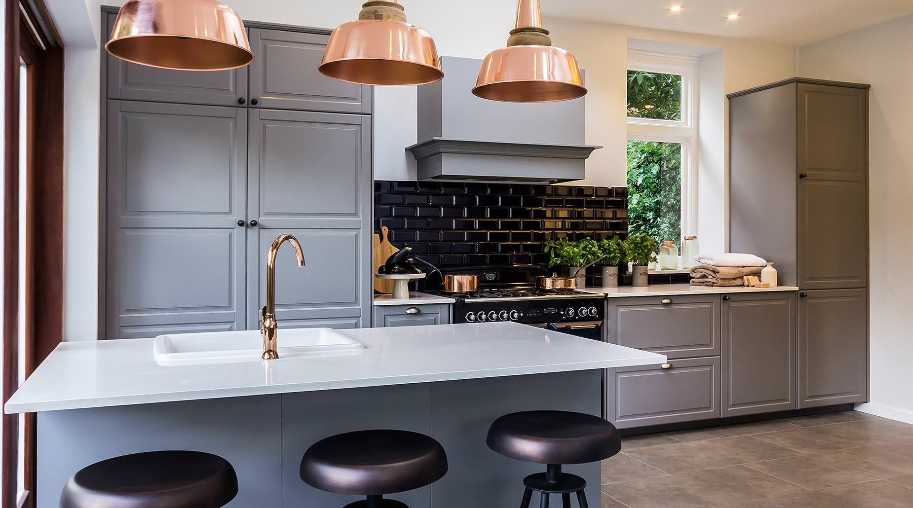 Contemporary Grey Country Kitchen With Copper Detailing Interior - Grey copper kitchen
