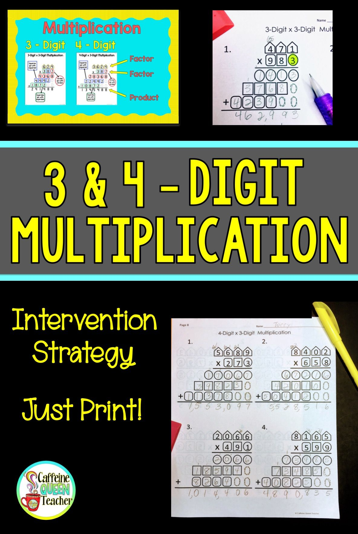 3 Digit And 4 Digit Multiplication Worksheets And