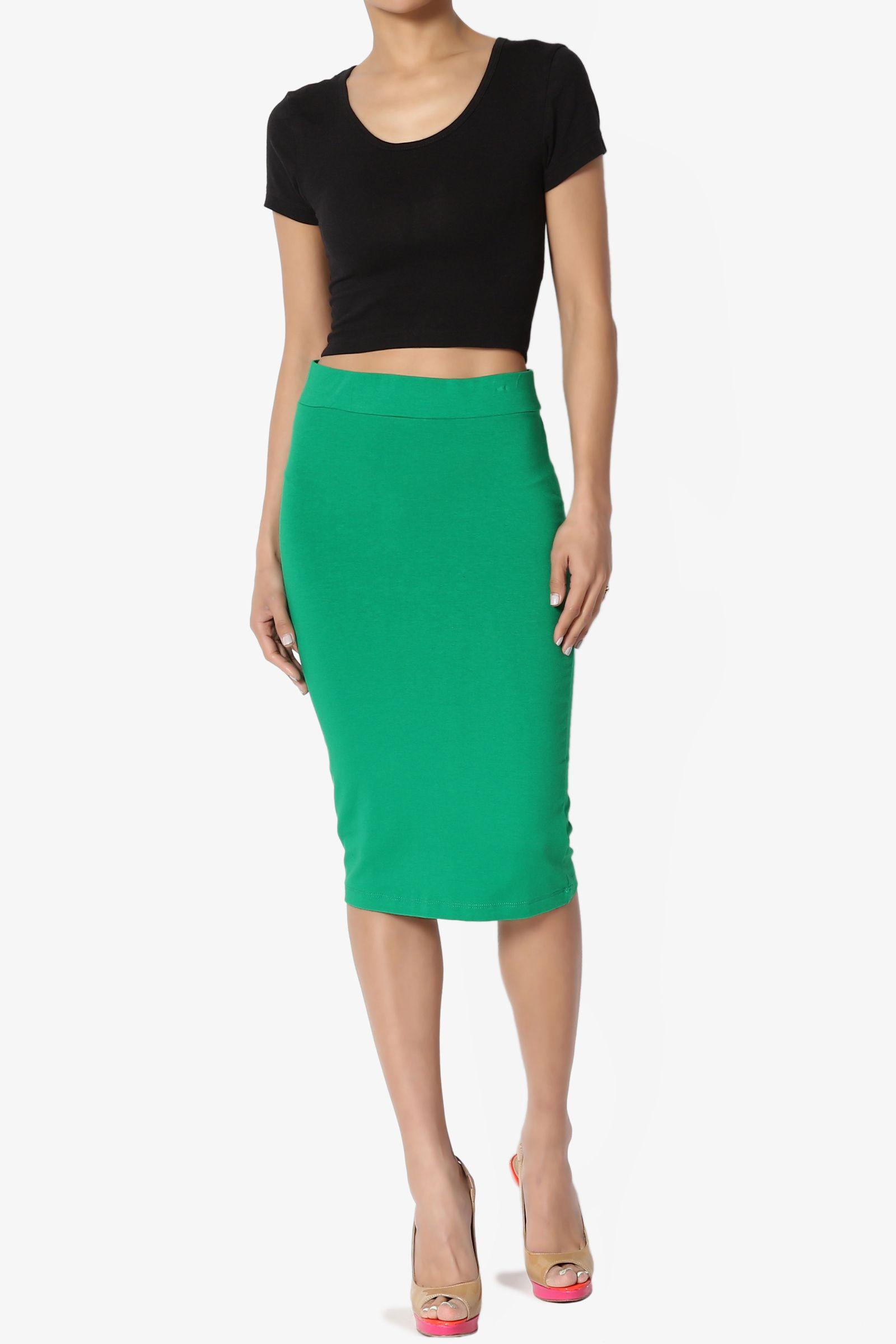 03bf77a3c TheMogan Women's S~3X Elastic High Waist Stretch Cotton Knee Pencil Midi  Skirt#High, #Waist, #Elastic