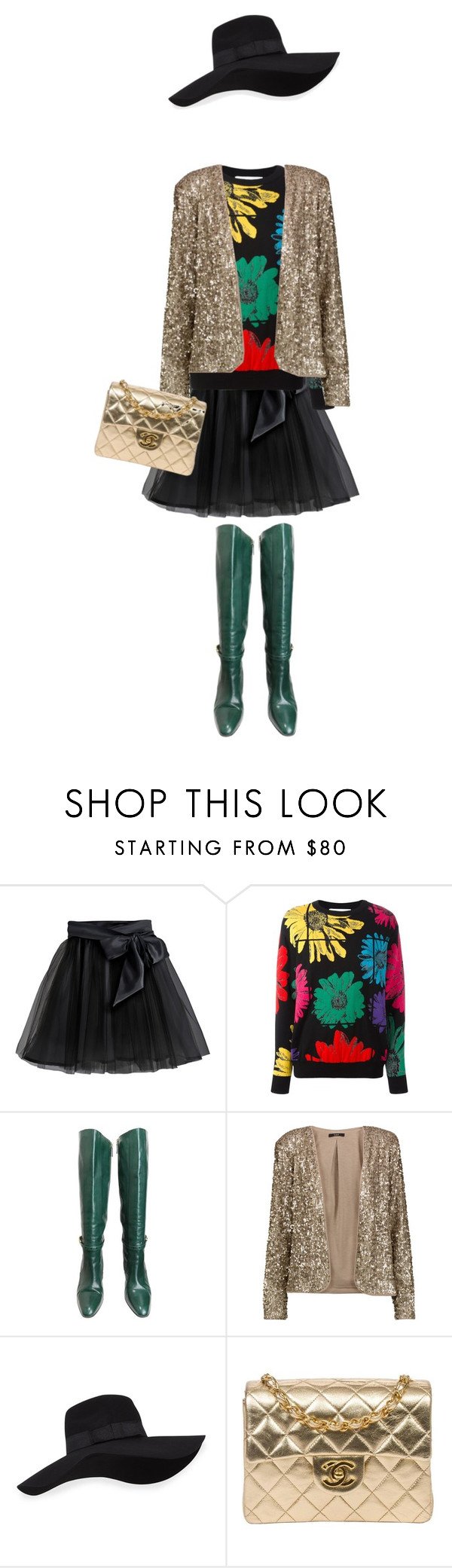 """evening style"" by lianafourmouzi ❤ liked on Polyvore featuring Little Wardrobe London, Moschino, Gucci, Tart, San Diego Hat Co. and Chanel"