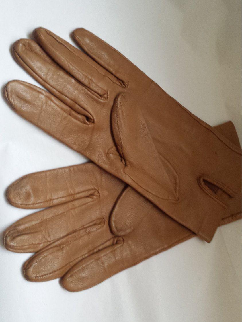 Ladies long vintage leather gloves - Vintage Ladies Gloves Leather Gloves Womens Gloves Winter Driving Gloves Tan Gloves By Jonelle British Made Gloves