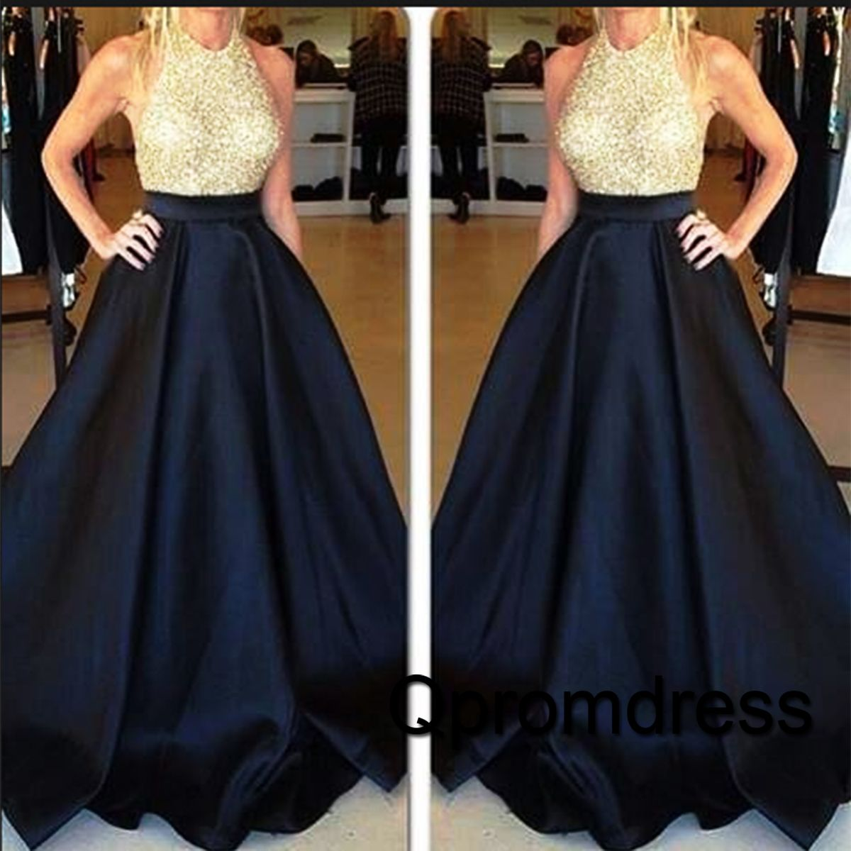 cute dark blue satin long poofy prom dress with sequins top