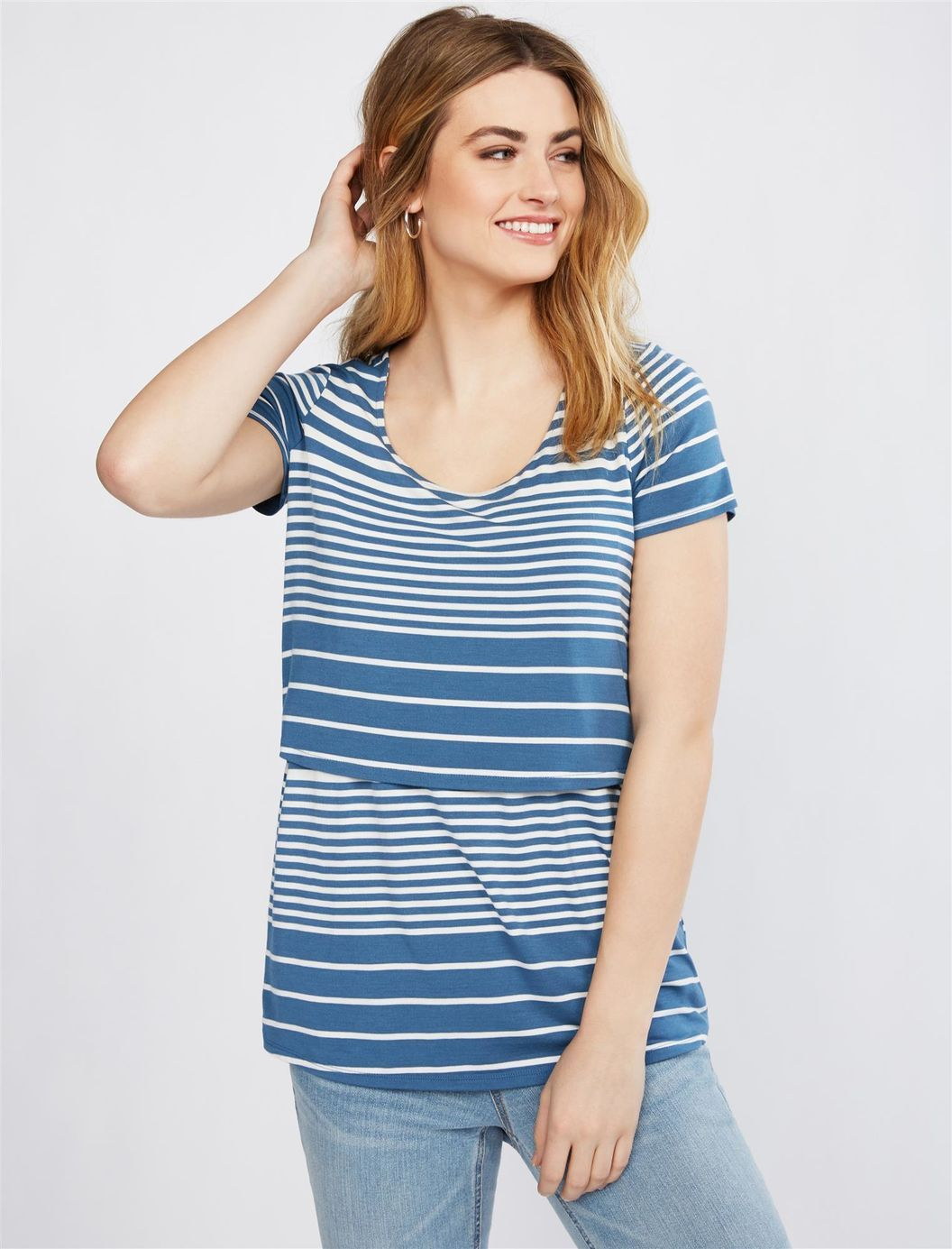 Motherhood Maternity Womens Short Sleeve Scoop Neck Lift Up Nursing Tee Shirt T-Shirt