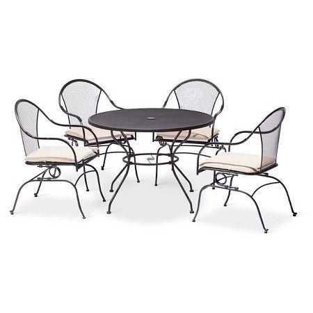 Hamlake Wrought Iron Patio Furniture.Hamlake 5 Piece Wrought Iron Motion Patio Dining Set Target