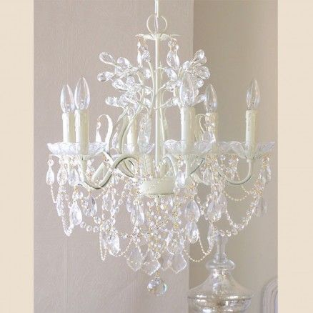 Exquisite Rose 6 Light Leafy Antique White Crystal Chandelier  (Also available in ivory)