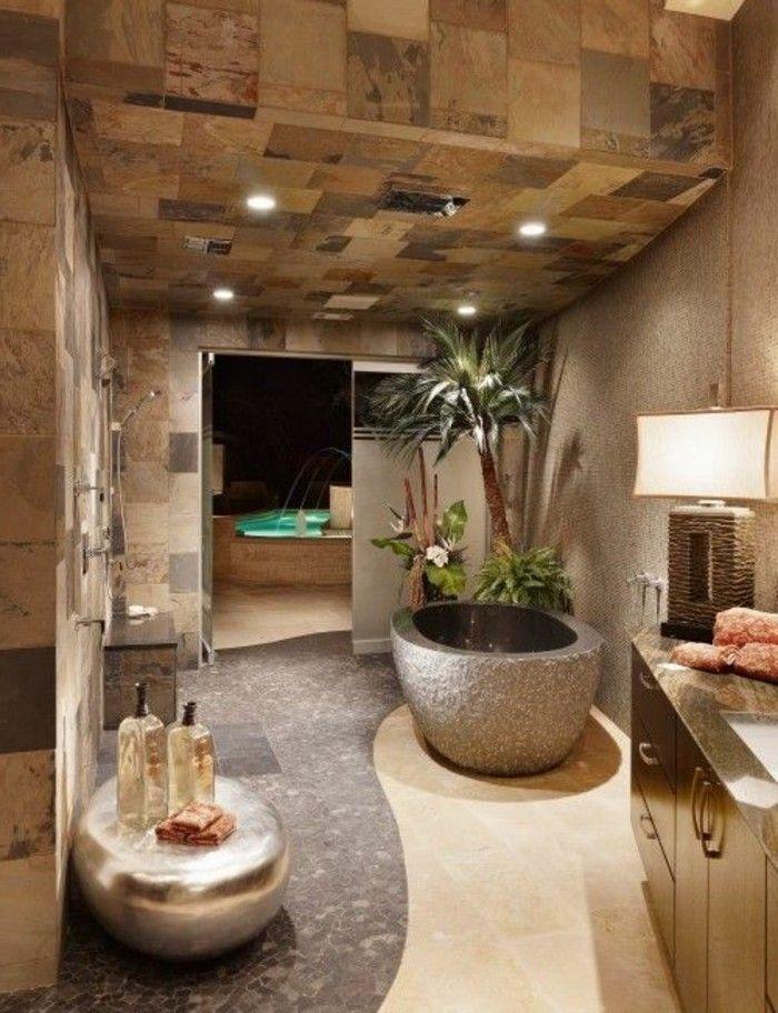 salle de bain zen bambou, petite salle de bain zen couleur taupe