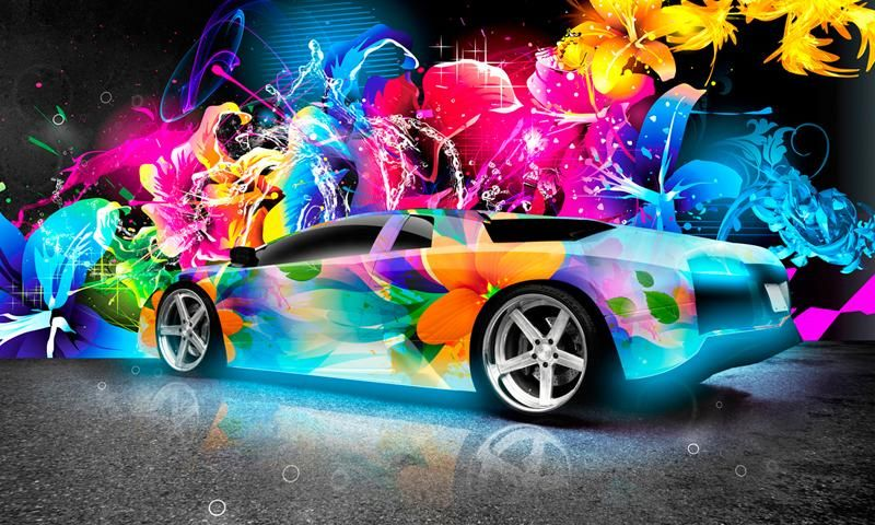 Group Of Neon Cars Cool 3d