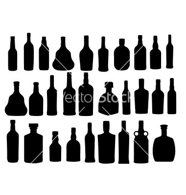 Silhouette Alcohol Bottle Vector On Vectorstock Alcohol Bottles Bottle Halloween Silhouettes