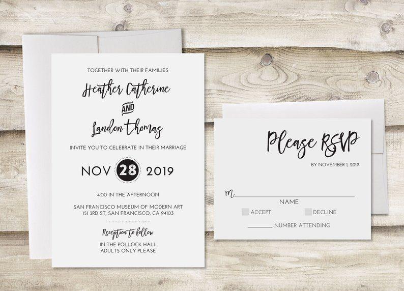 The Modern Wedding Invitation With Rsvp Formal Wedding Invitations Black And White Wedding Invitation Elegant Wedding Wedding Invite Wedding Invitations Rsvp Modern Wedding Invitations Wedding Invitations