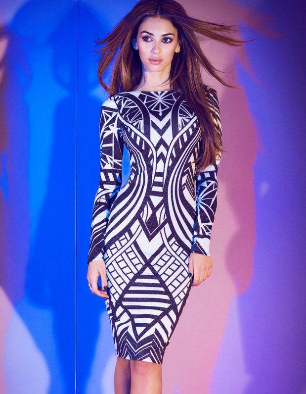 Black and White Tribal Aztec Bandage Bodycon Pencil Dress | Fashion ...