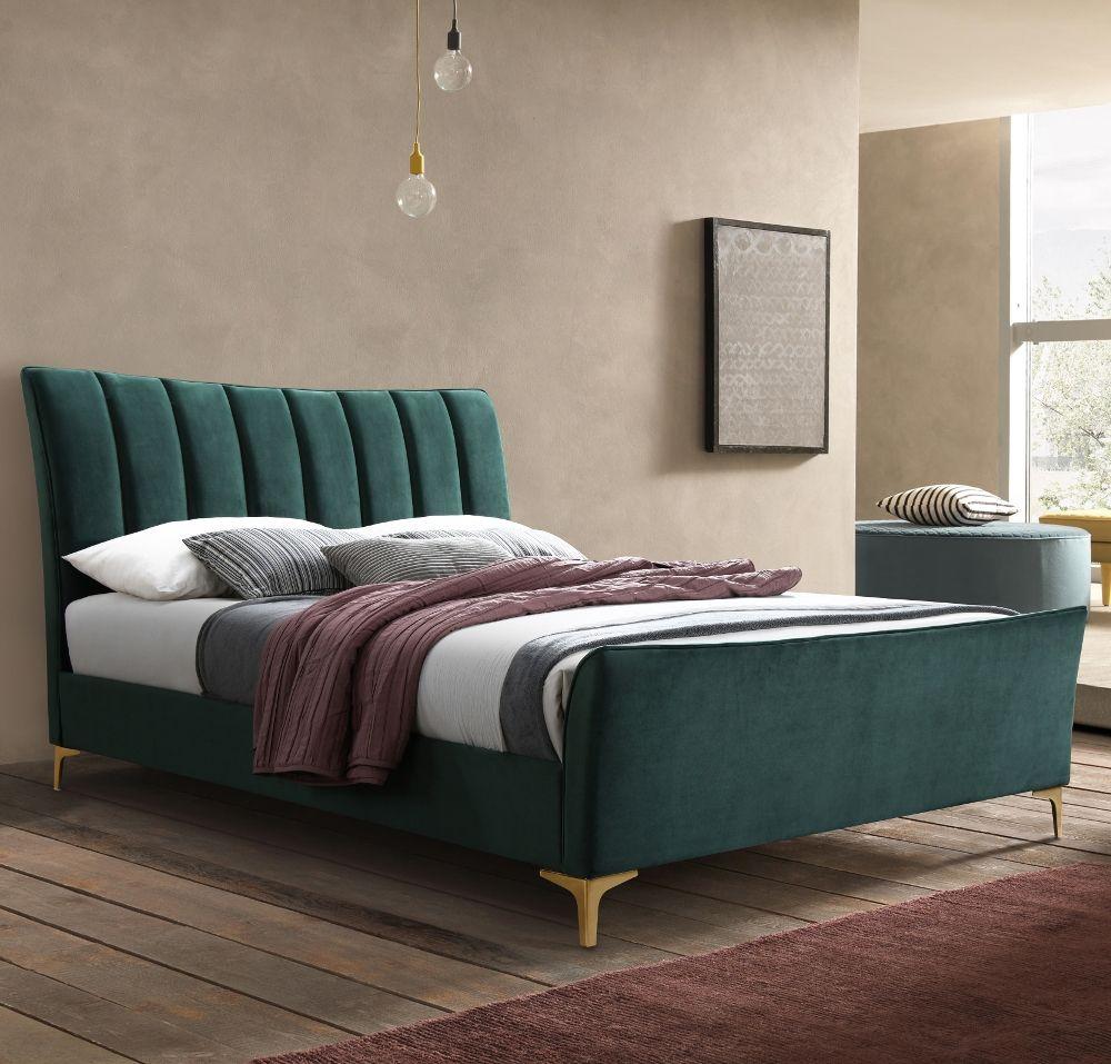 Clover Green Velvet Fabric Bed Frame 5ft King Size in
