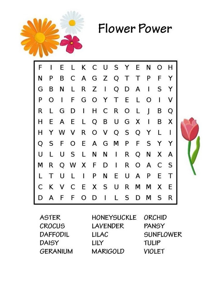 Free Word Search Puzzles For Kids In 2020 Printable Puzzles For Kids Flower Words Puzzles For Kids
