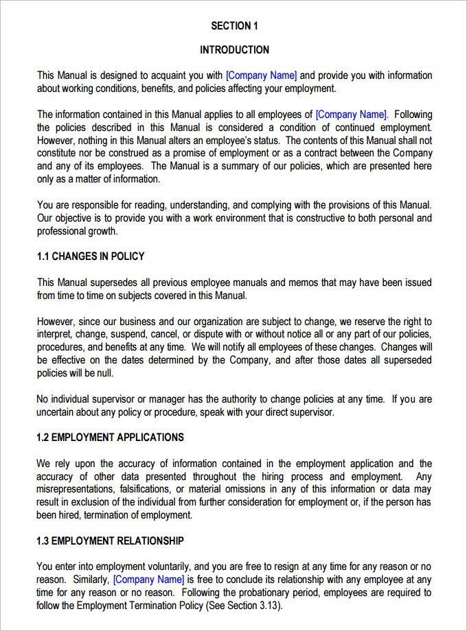 13+ Employee Handbook Templates Word, Excel & PDF