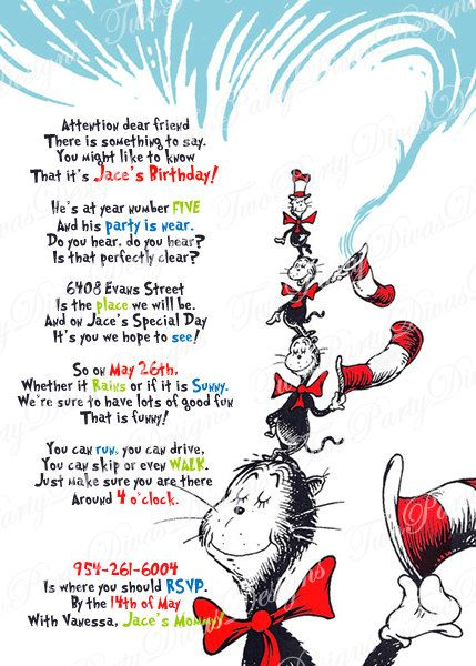 Printable Personalized Cat in the Hat Birthday Party Invitation