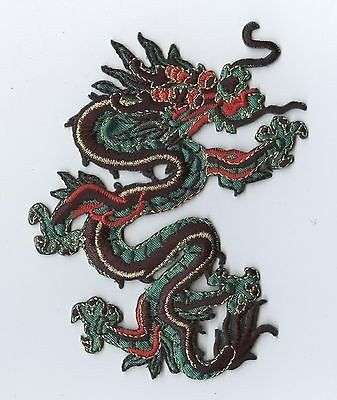 "1 Iron-On Embroidered Applique : Green and Red Chinese Dragon Measures 3-1/4"" x 4-1/2"" or 8.3cm x 11.43cm"