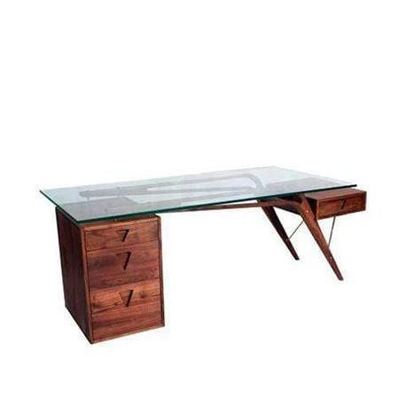 Glass Top Desk Is Here Mid Century Modern Glass Top Office And Computer Desk With Walnut F Glass Top Desk Office Furniture Modern Mid Century Modern Furniture