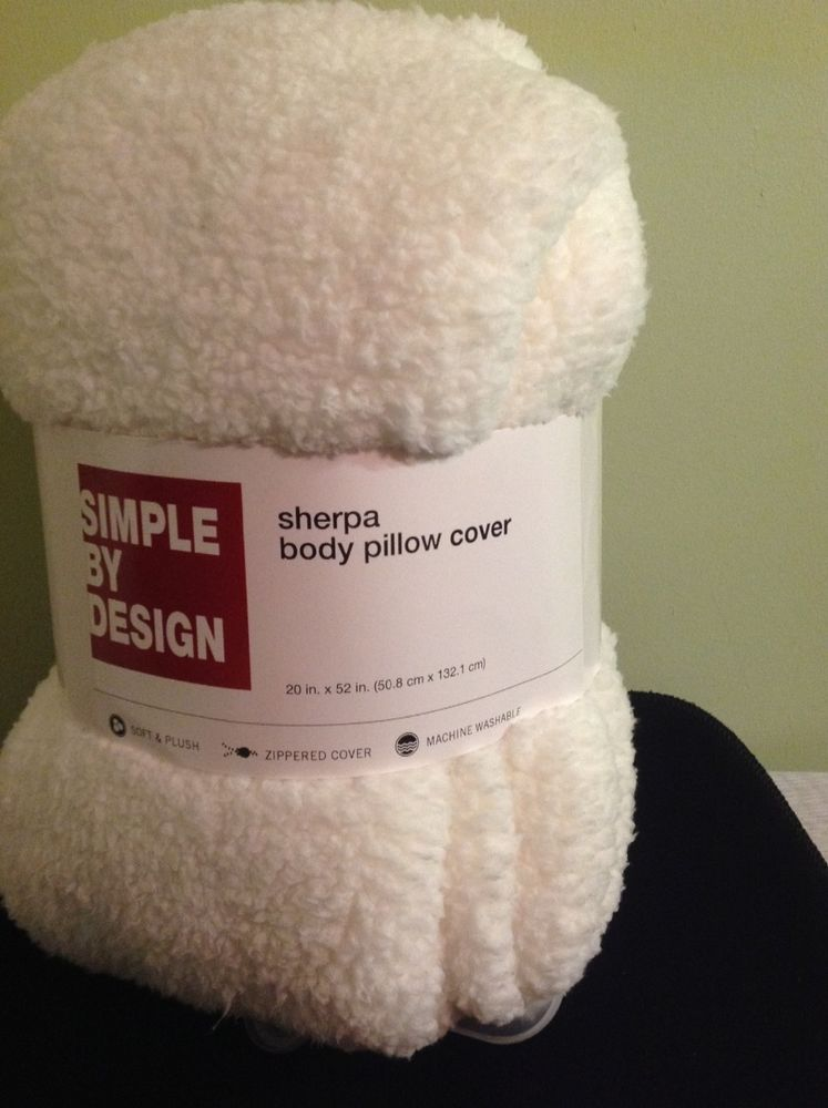 Sherpa Body Pillow Cover.New Simple By Design White Sherpa Body Pillow Cover 20 X