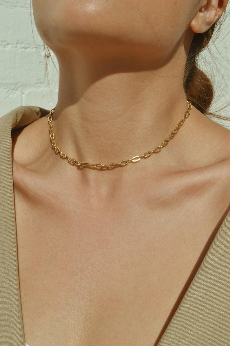 Gold Link Necklace, Link Chain Necklace, Dainty choker necklace, Rectangle Link Necklace, Gold Filled Chain