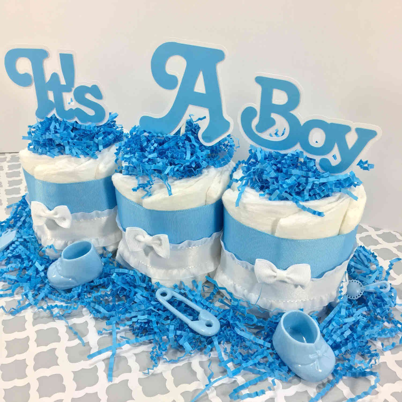 Its a boy mini diaper cake centerpiece baby shower