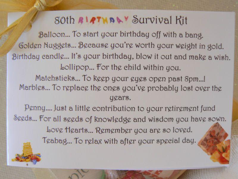 FEMALE 50th Birthday SURVIVAL KIT Humorous Gift Idea Unusual Novelty