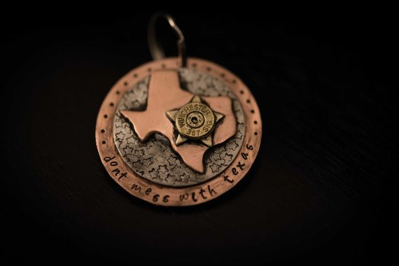 Dont mess with Texas bullet end keychain. Hey, I found this really awesome Etsy listing at https://www.etsy.com/listing/460421420/custom-hand-stamped-keychain-pendant-or