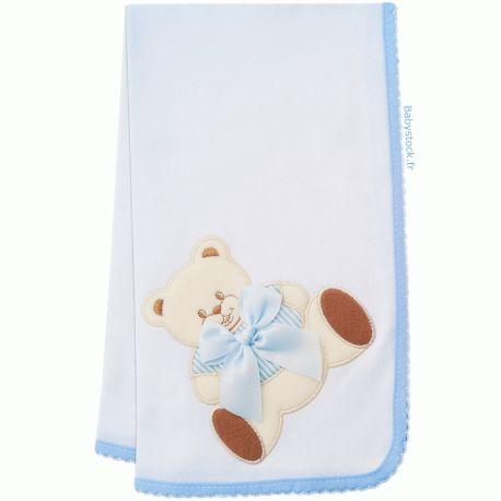 5981381560211 Lange pour bébé garçon en jersey de coton blanc brodé Ourson bleu fabriqué  au Portugal à