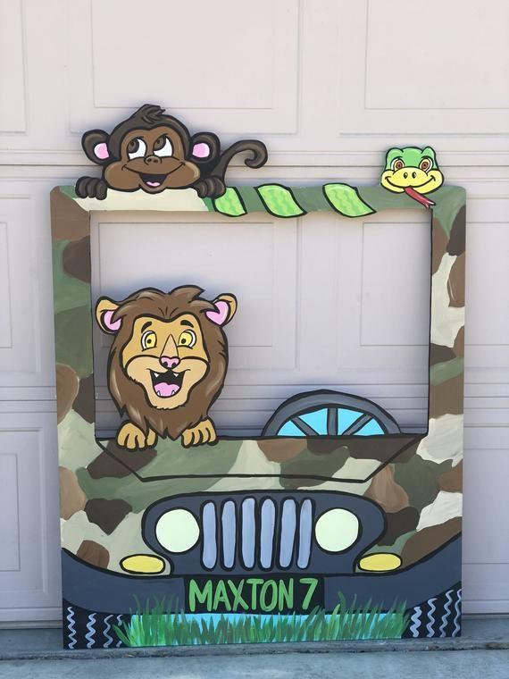 Jungle Party- Safari Birthday- Jungle Car- Safari Animals- Safari Shower- Zoo Prop- Safari truck- Camo truck Prop- Jungle photo op-