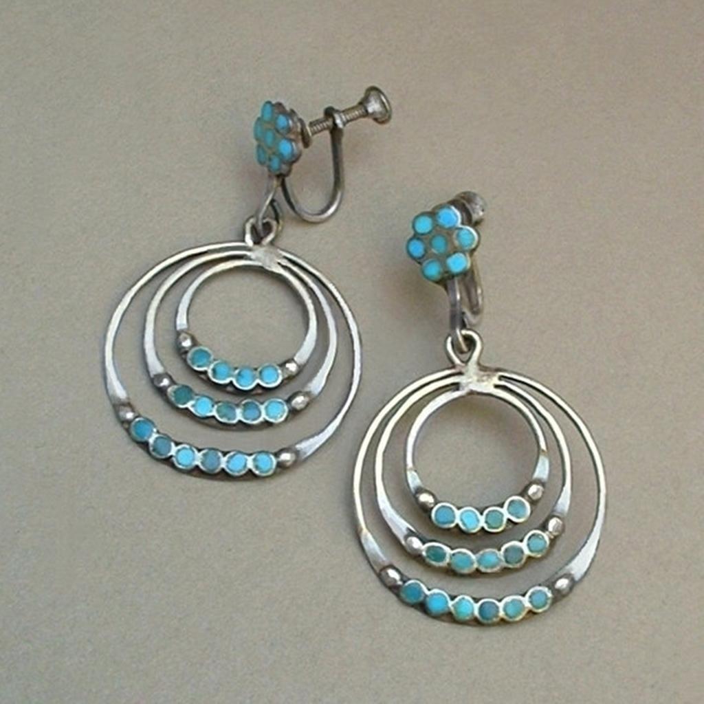 c345bf365 Dishta Sterling Silver TURQUOISE Vintage ZUNI Earrings Triple Hoop Dangles  Screwbacks Hallmarked