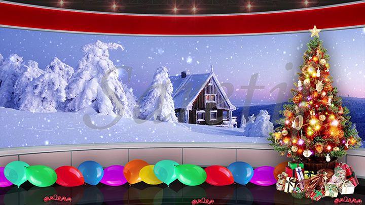 93hd Christmas Tv Virtual Studio Green Screen Background Red Xmas Tree Gifts Balloons Snowfall Green Screen Backgrounds Studio Green Greenscreen