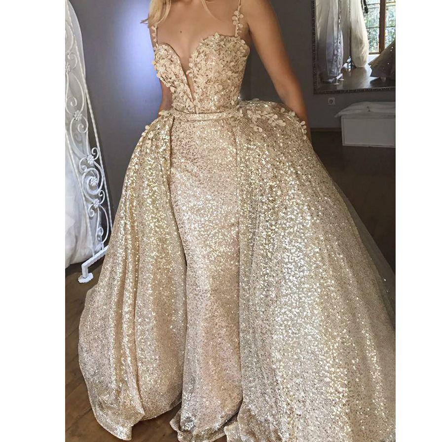 eb97470fc0 Buy Rose Gold Muslim Evening Dresses 2018 Mermaid Spaghetti Strap Lace  Sequins Islamic Dubai Kaftan Saudi Arabic Long Evening Gown
