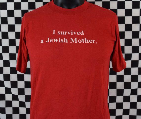 ed996968a Vtg 80s I Survived A Jewish Mother Tee Shirt / Vintage Jewish T ...