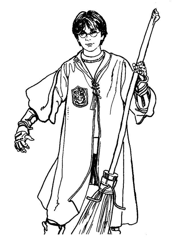 Quidditch Player Harry Potter With Firebolt Coloring Page Netart Harry Potter Cizim Egitimleri Cizmek Icin