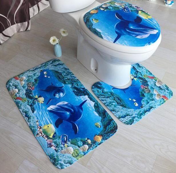 3pcs/set 3D Print Sea View Pedestal Toilet Rug+Lid Toilet