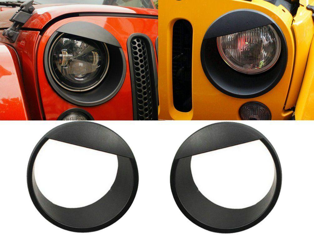 Black Bezels Front Light Headlight Trim Cover for Jeep Wrangler JK Unlimited 07+