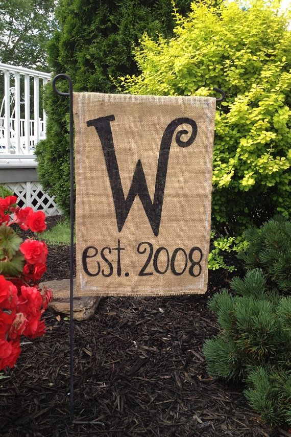Burlap Garden Flag with Monogrammed Initial and Year Burlap
