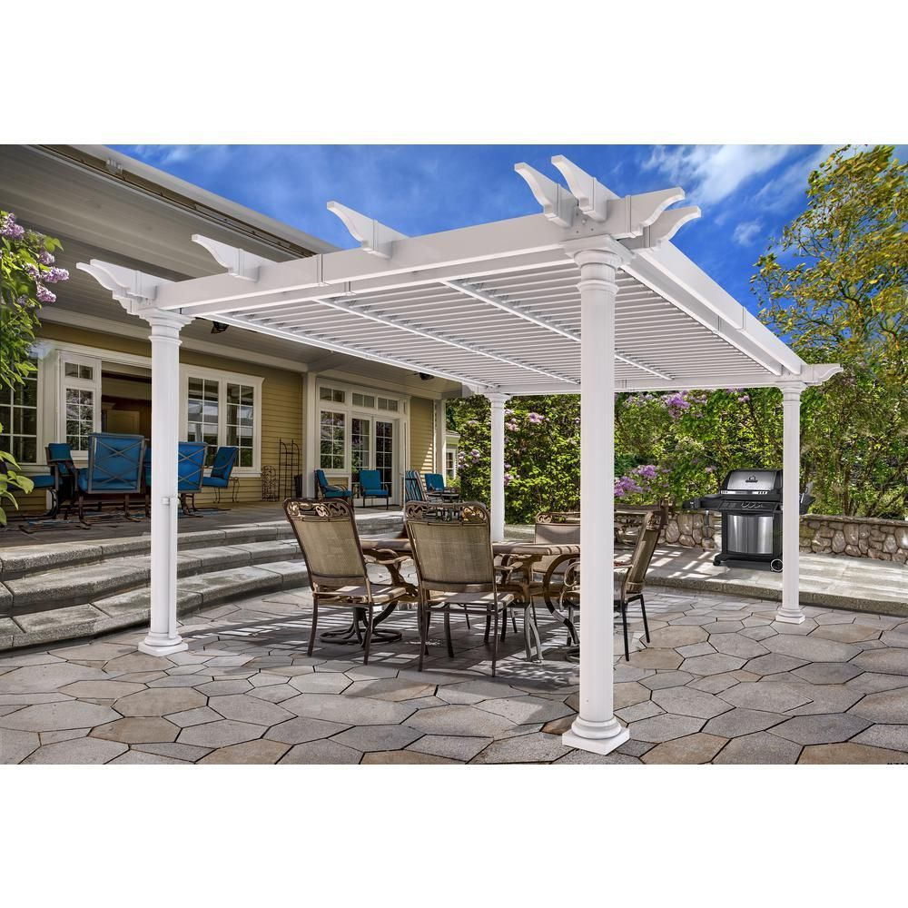 New England Arbors Aberdeen 12 Ft X 12 Ft White Vinyl Louvered Pergola With Round Posts Whites Louvered Pergola Pergola Vinyl Pergola