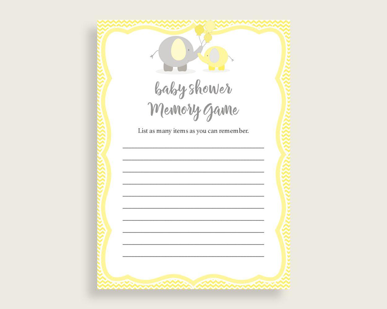 Memory Game Baby Shower Memory Game Yellow Baby Shower Memory Game Baby  Shower Elephant Memory Game