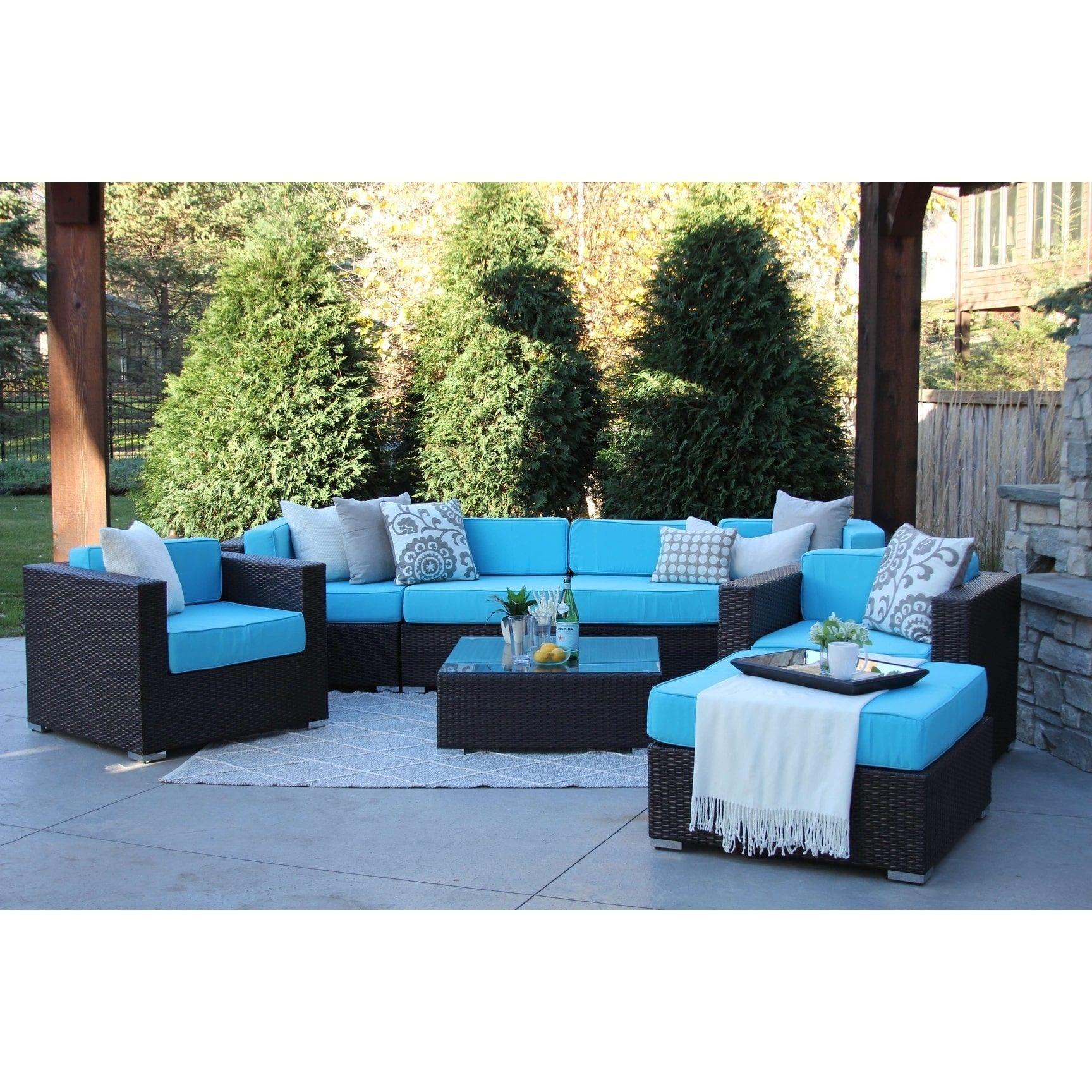 Hiawatha 8 pc modern outdoor rattan patio furniture sofa set modular