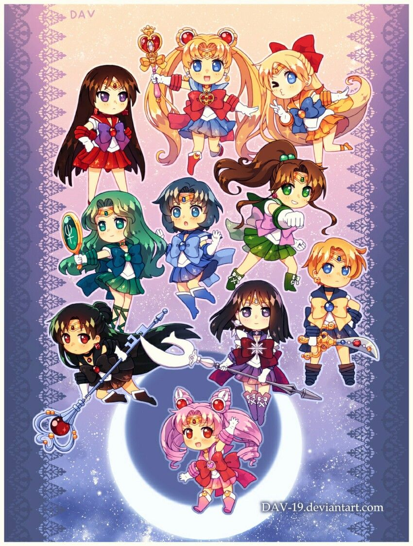 Sailor Moon and scouts. Chibi