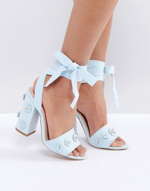 26f856d4acb Coco Wren 3d Flower Trim Block Heel Sandal