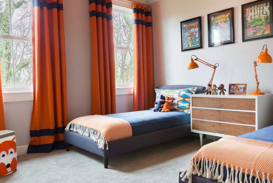 Simple Kids Room Boys Bedroom Orange Boys Bedroom Curtains