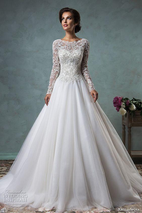 34 Langarm Brautkleider für Herbst und Winter Hochzeiten #tulleballgown